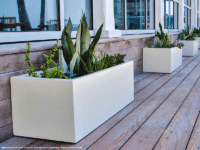 Line of white rectangular planters on a wood porch