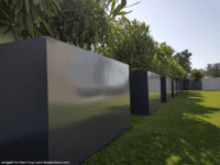 Line of black rectangular planters