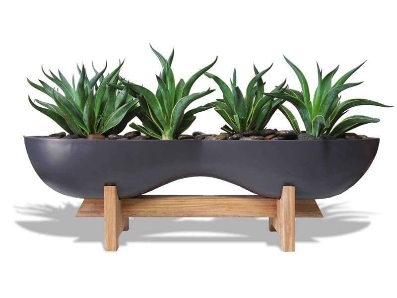 organic shaped gray planter