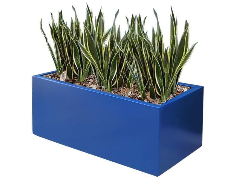 blue rectangular fiberglass planter