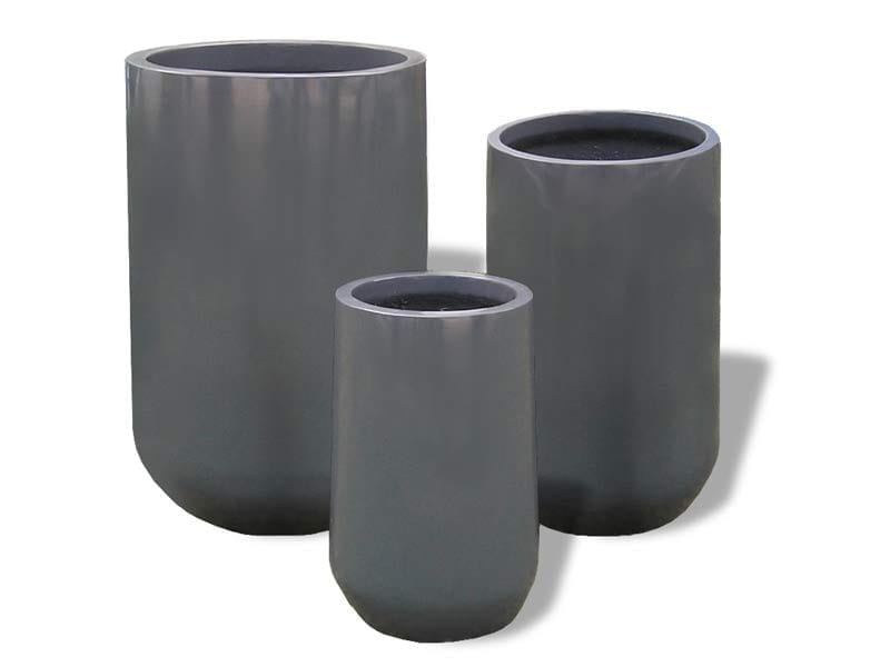 round gray fiberglass planters