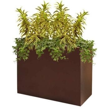 tall brown rectangular fiberglass planter