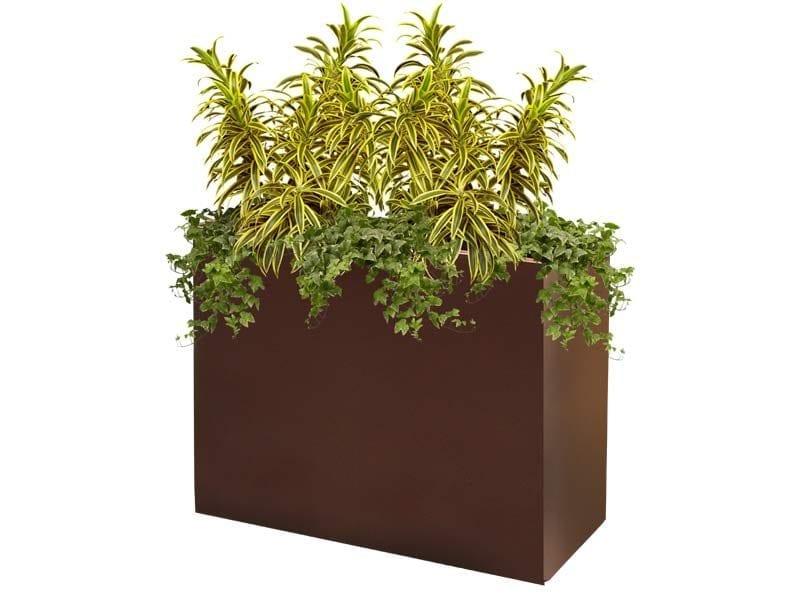tall brown rectangular fiberglass planter