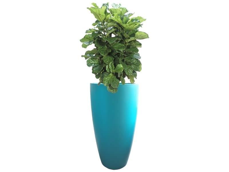 tall teal fiberglass planter