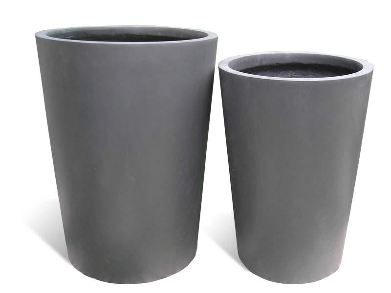 round tapered gray fiberglass planters