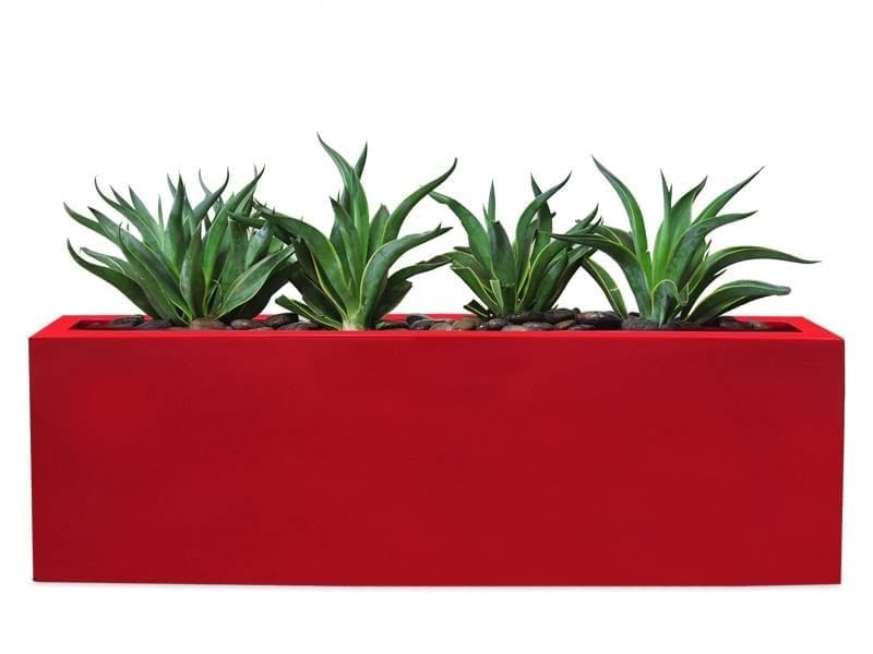 red rectangular fiberglass planter