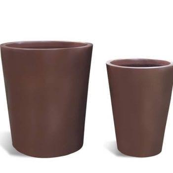 brown round fiberglass planter