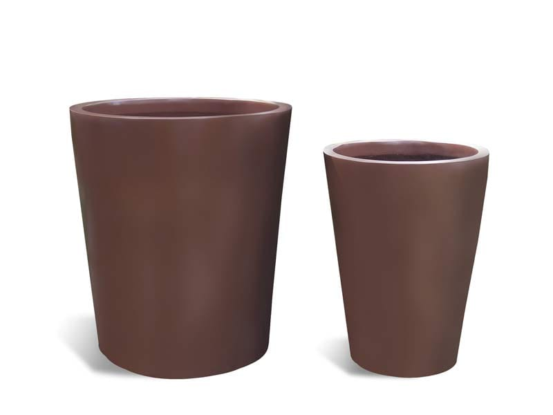 brown round fiberglass planter