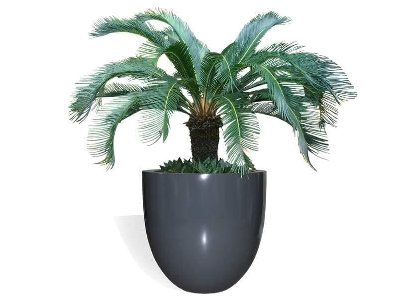 round gray fiberglass planter