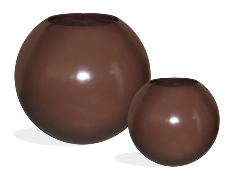sphere brown fiberglass planters