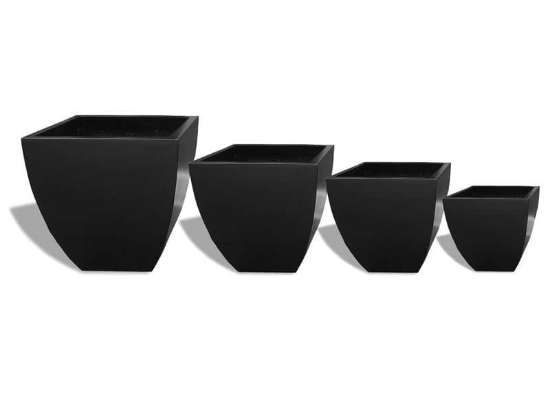square tapered black fiberglass planter