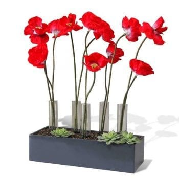 grey rectangular fiberglass planter