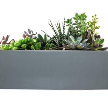 gray rectangular fiberglass planter