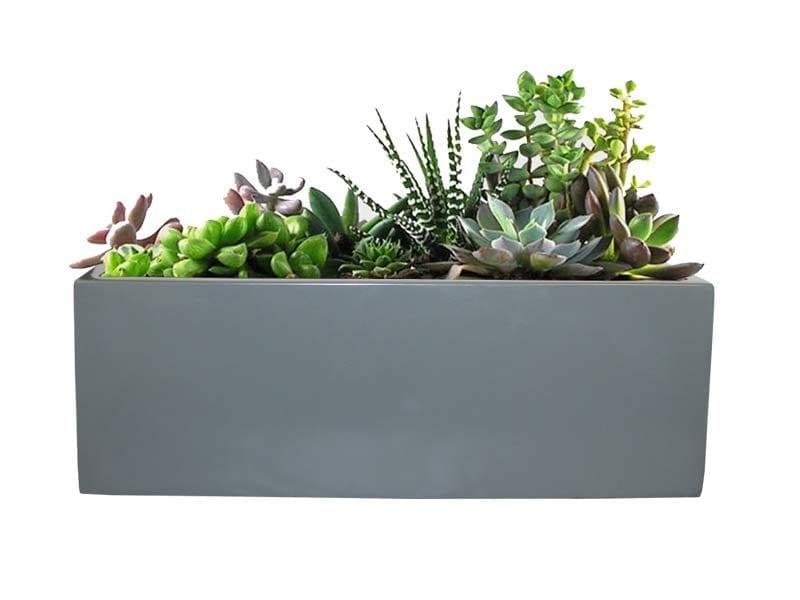 gray rectangular fiberglass planter