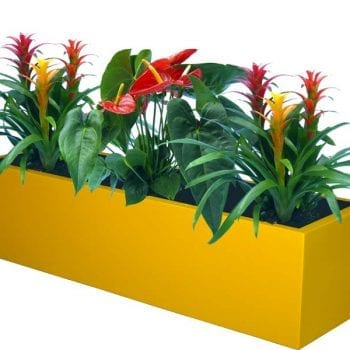 yellow rectangular fiberglass planter
