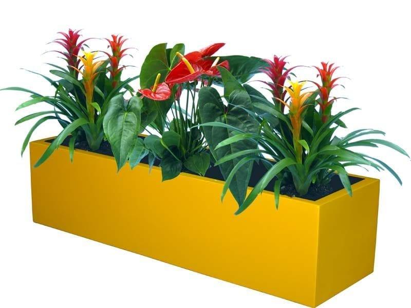 yellow rectangular fiberglass planter