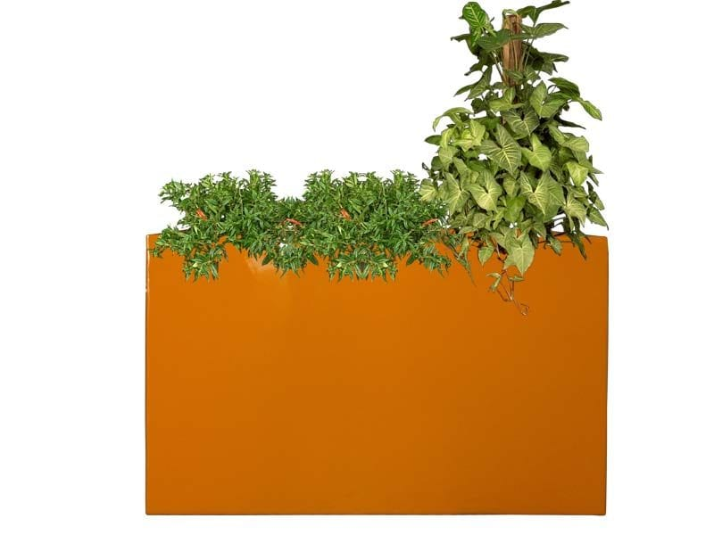 tall orange rectangular fiberglass planter