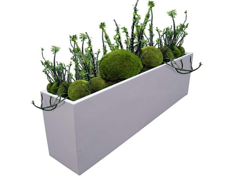 white rectangular fiberglass planter