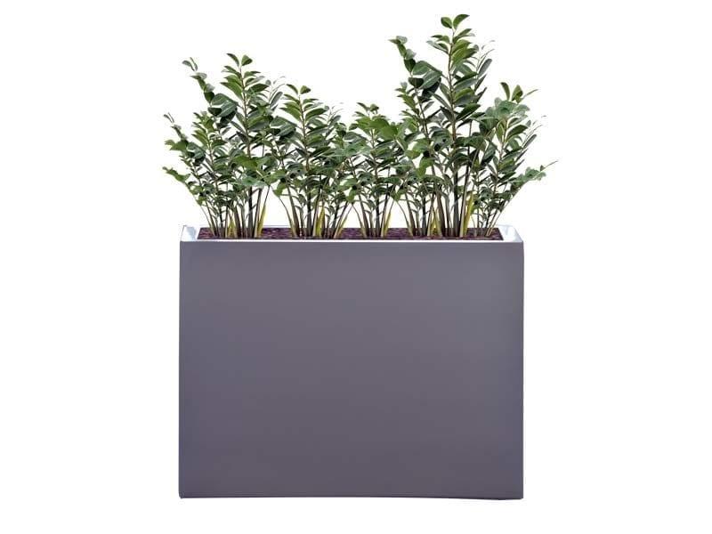 tall gray rectangular fiberglass planter