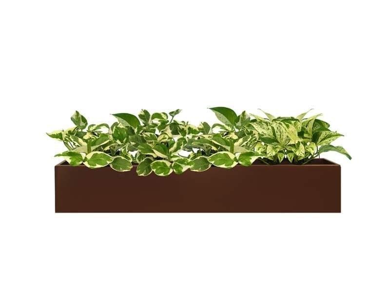 short brown rectangular fiberglass planter