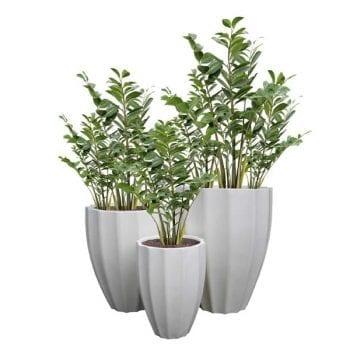 ribbed round fiberglass planters