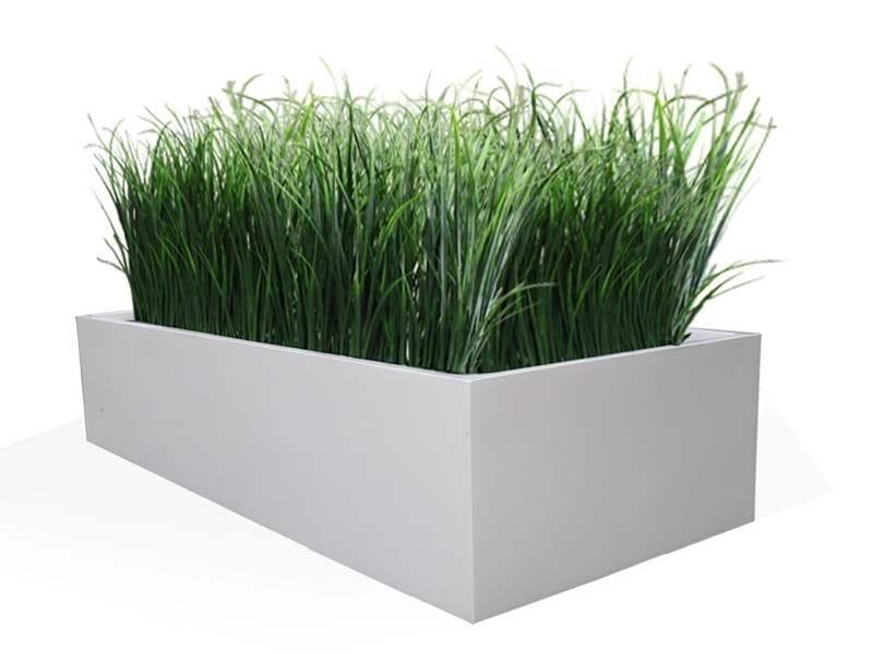 wide white rectangular fiberglass planter