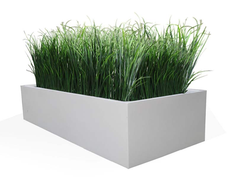 wide white rectangular fiberglass planter
