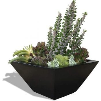 tapered black square planter