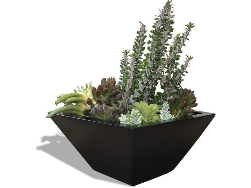 tapered black square planter