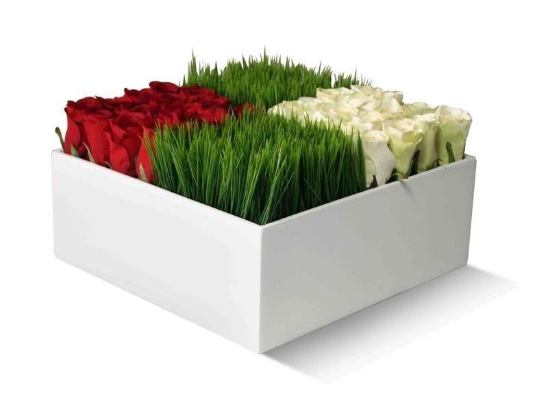 square white fiberglass planter