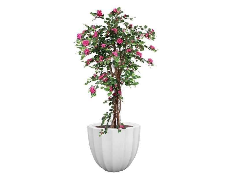 ribbed white fiberglass planter