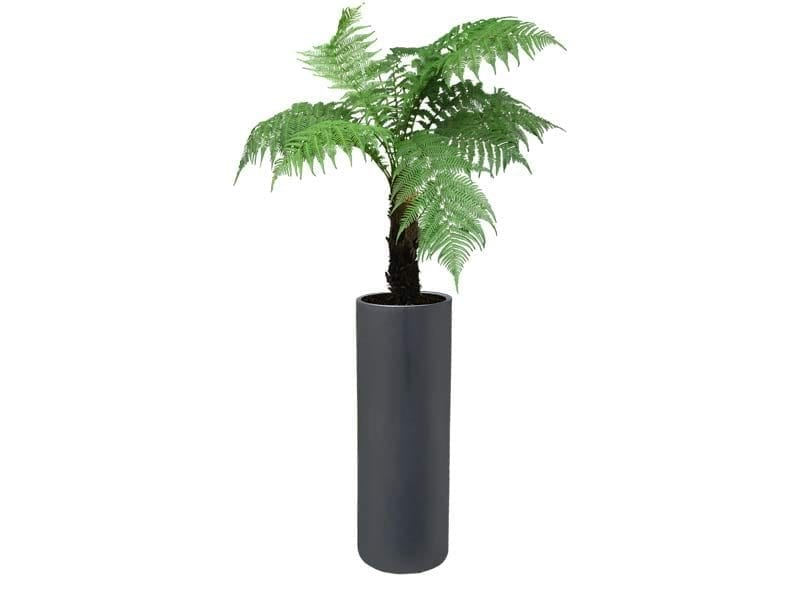 tall cylindrical gray fiberglass planter