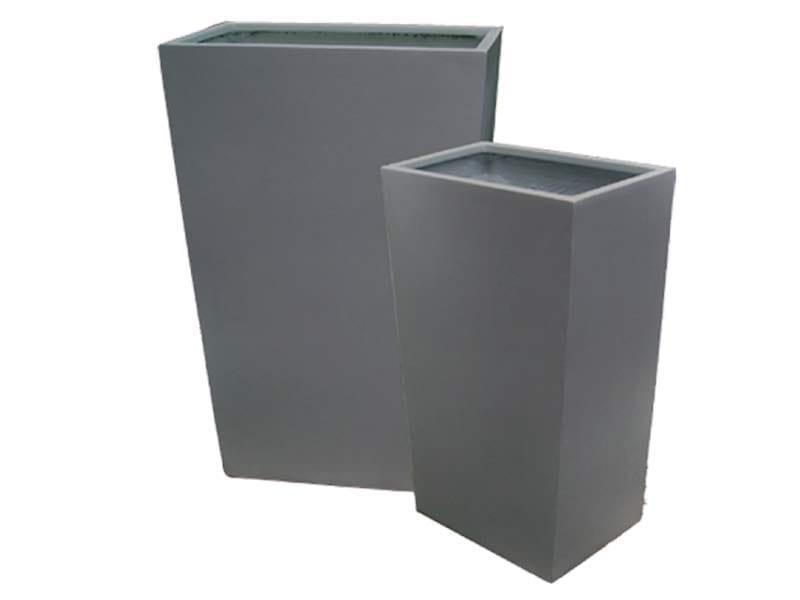 gray rectangular fiberglass planters