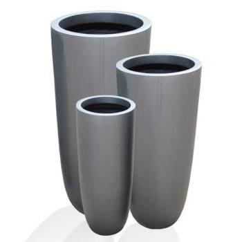 tall round silver fiberglass planters