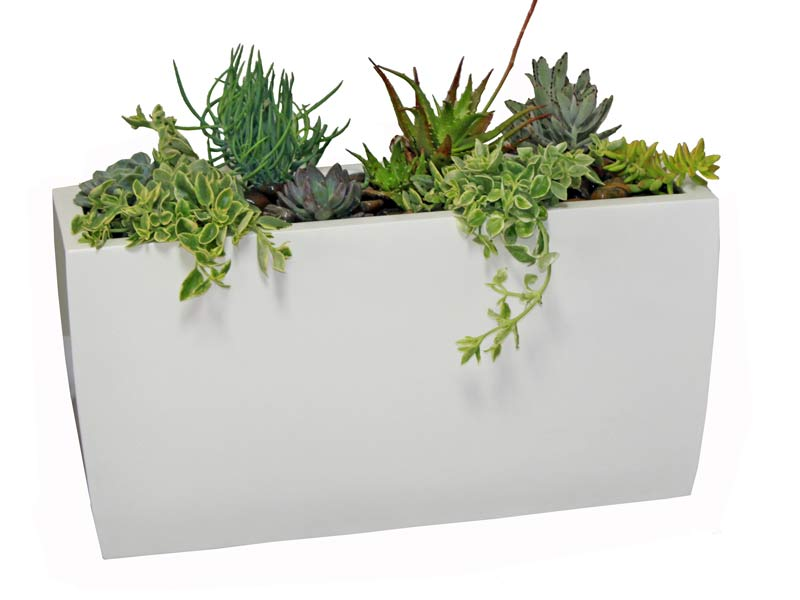 white rectangular planter box