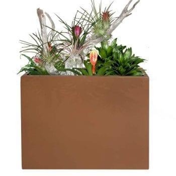 brown rectangular fiberglass planter