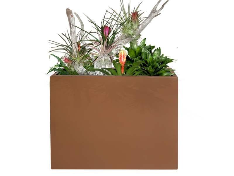 brown rectangular fiberglass planter