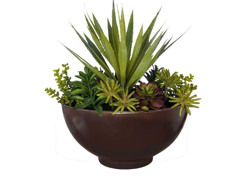 round bowl fiberglass planter
