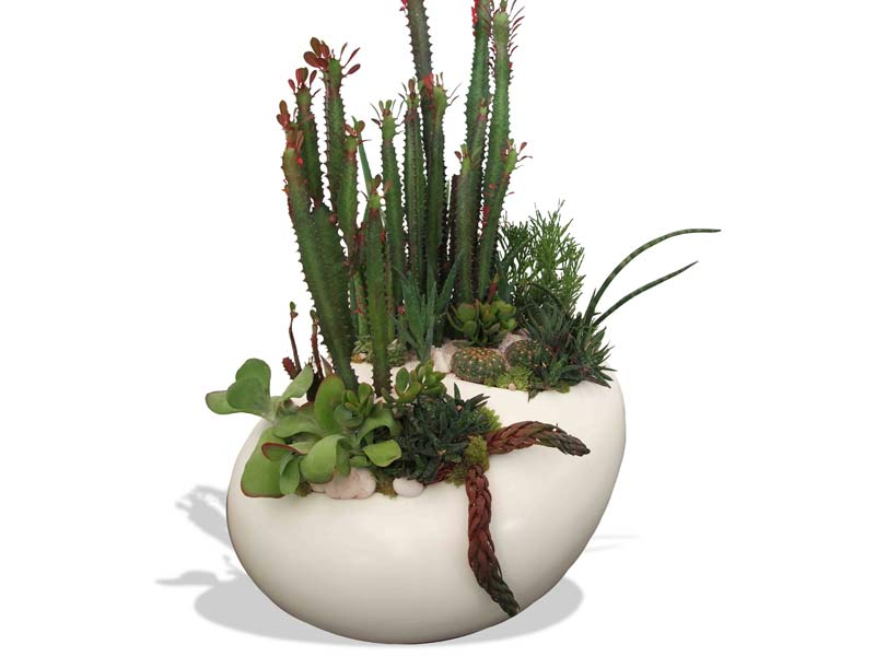 river rock table top fiberglass planter