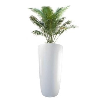 tall round fiberglass planter